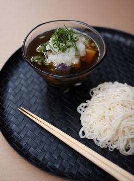 夏野菜の揚げ浸し つけ麺_f0235919_9552524.jpg