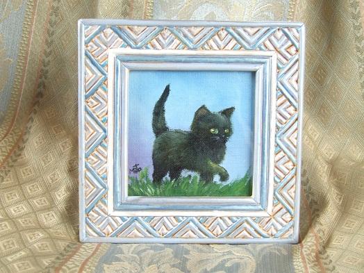 黒猫の油絵「しっぽ、ピンッ!」_b0089338_22123128.jpg