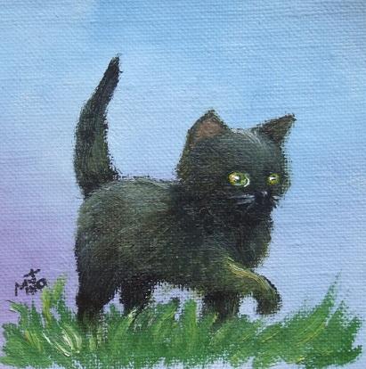 黒猫の油絵「しっぽ、ピンッ!」_b0089338_2212610.jpg