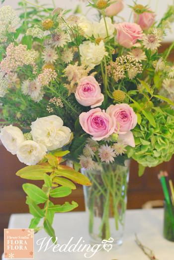 旧古河邸様ウェディング バラの季節のアンティークテイスト会場装花2 レセプションとウェイティングルーム_a0115684_1458414.jpg