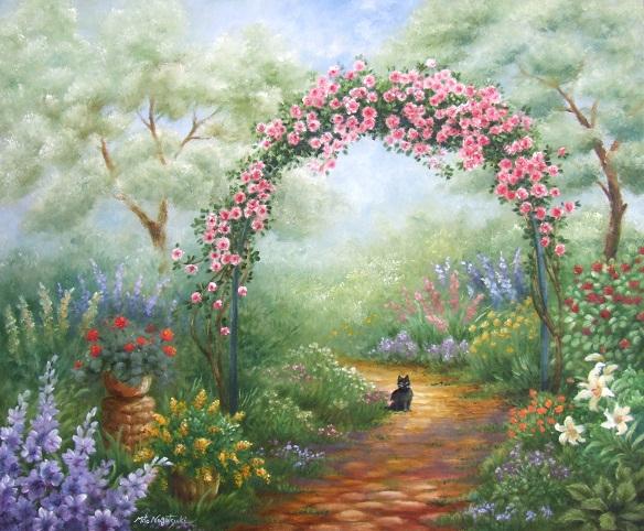 猫のいる庭の油絵_b0089338_8414564.jpg