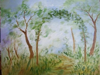 猫のいる庭の油絵_b0089338_8464565.jpg