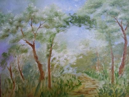 猫のいる庭の油絵_b0089338_8465592.jpg
