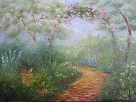 猫のいる庭の油絵_b0089338_8472887.jpg