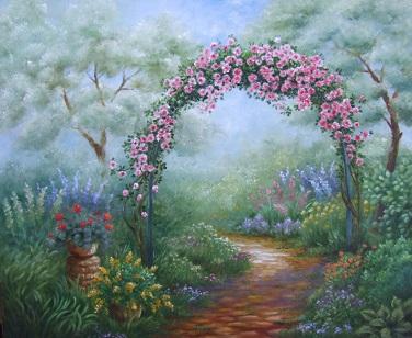 猫のいる庭の油絵_b0089338_8473810.jpg