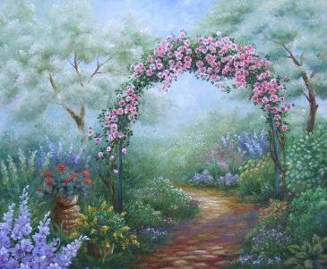 猫のいる庭の油絵_b0089338_8474769.jpg