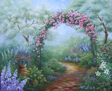 猫のいる庭の油絵_b0089338_8475536.jpg