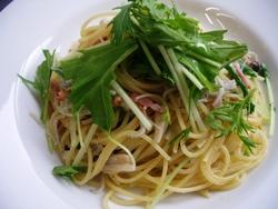 7/30本日のパスタ:シラスと水菜のぺペロンチーノ_a0116684_11585513.jpg