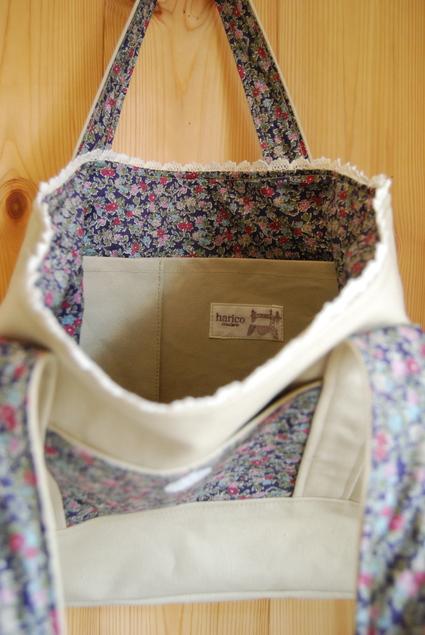 帆布&リバティでbag  & mini  bag_d0127925_10521360.jpg