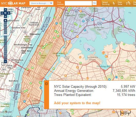 住所を入所するだけで太陽光発電力がすぐ分かるNYC Solar Map_b0007805_0264773.jpg
