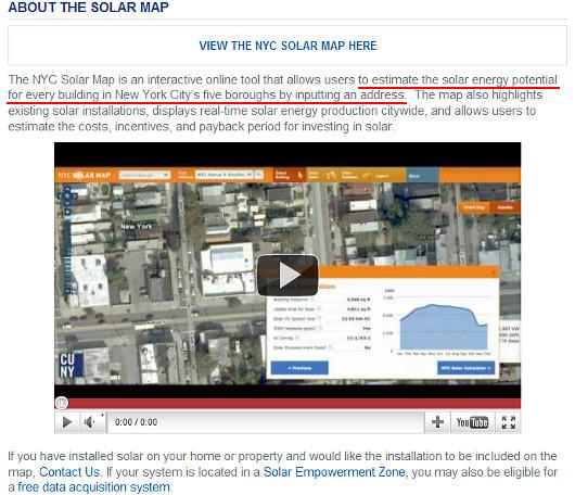 住所を入所するだけで太陽光発電力がすぐ分かるNYC Solar Map_b0007805_0431742.jpg