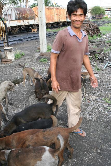 バンコク  トンブリー(バンコクノイ)駅のイヌ好き青年_b0061717_542874.jpg