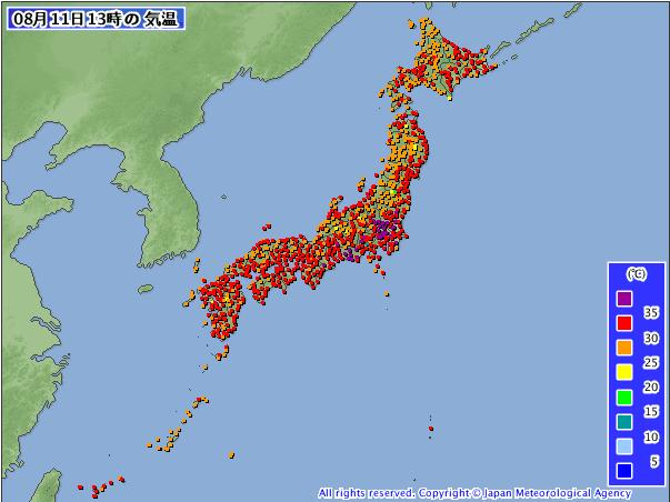 灼熱列島 北海道も熱帯夜から34℃弱まで_c0025115_19252571.jpg