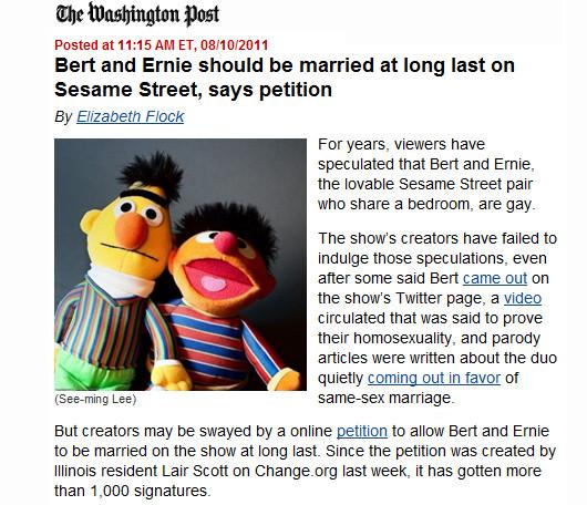 セサミストリートのバートとアーニーに同性婚の話題?!_b0007805_13253814.jpg