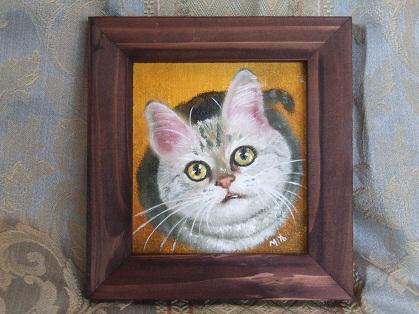 ご飯を催促する瞳。猫の油絵_b0089338_2134210.jpg