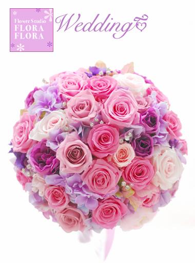 ピンクのバラとクリスタル*プリザーブドフラワー きらきらラウンドブーケ_a0115684_9402035.jpg