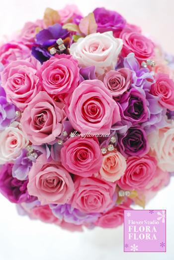 ピンクのバラとクリスタル*プリザーブドフラワー きらきらラウンドブーケ_a0115684_9403515.jpg
