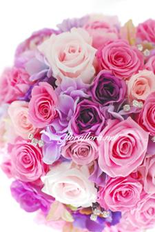 ピンクのバラとクリスタル*プリザーブドフラワー きらきらラウンドブーケ_a0115684_9405089.jpg