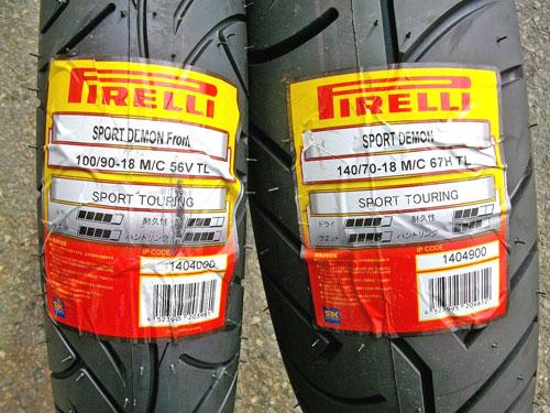 Z1000J タイヤ交換でピレリー スポーツデーモンに!_c0086965_22254069.jpg
