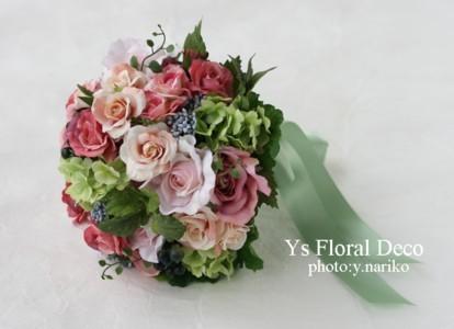 カラフルなブーケ&花冠 ミントグリーンのドレスに_b0113510_0121339.jpg