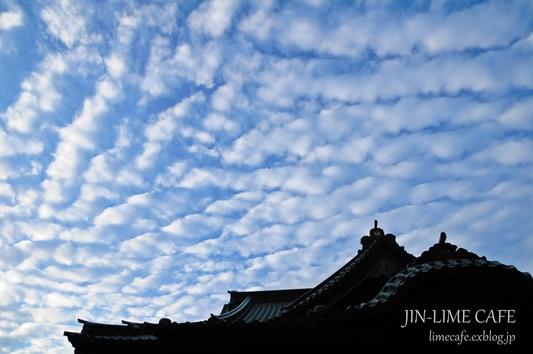 お寺の屋根と秋の空_e0222506_23145570.jpg