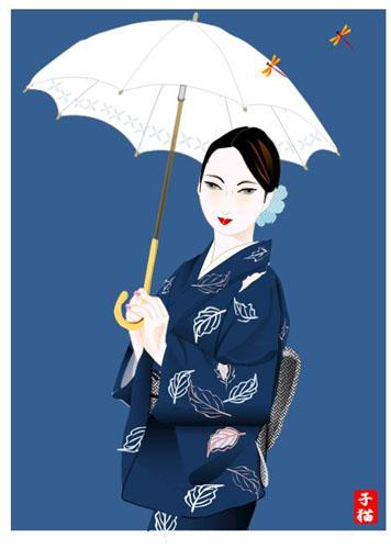 日傘の女性(ワード絵)と、スイフヨウ_f0030085_19592599.jpg
