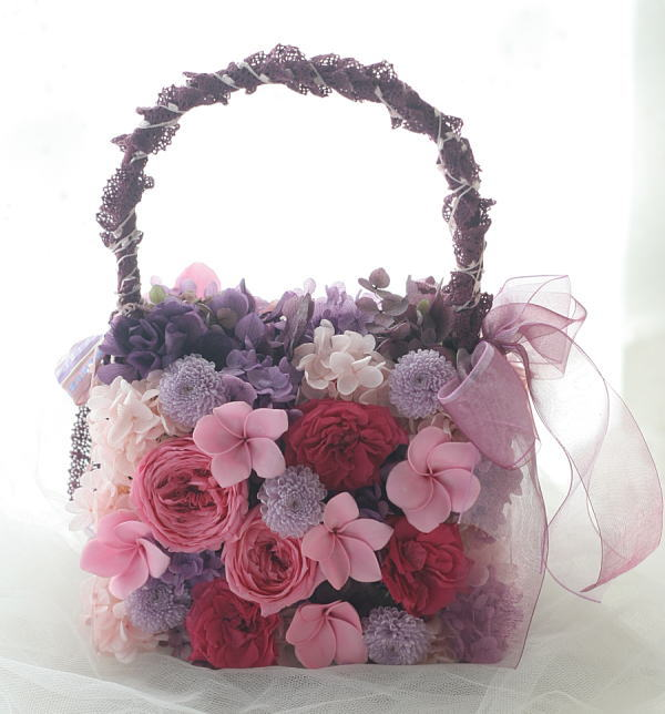 プリザーブドのバッグブーケ 葡萄色のドレスに_a0042928_16514697.jpg