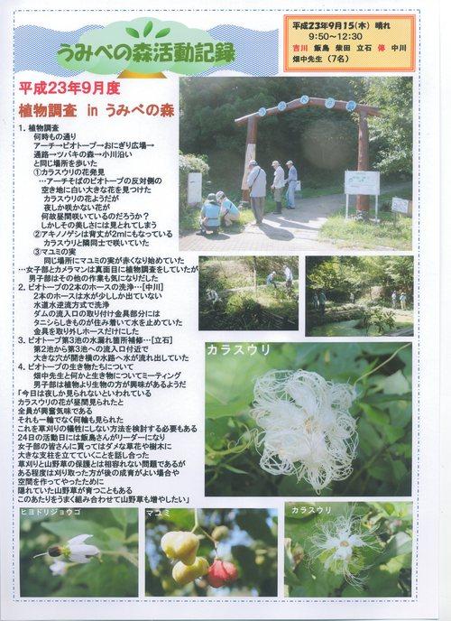 昼間咲いていたカラスウリの花!! in うみべの森H23年9月度植物調査_c0108460_15155614.jpg