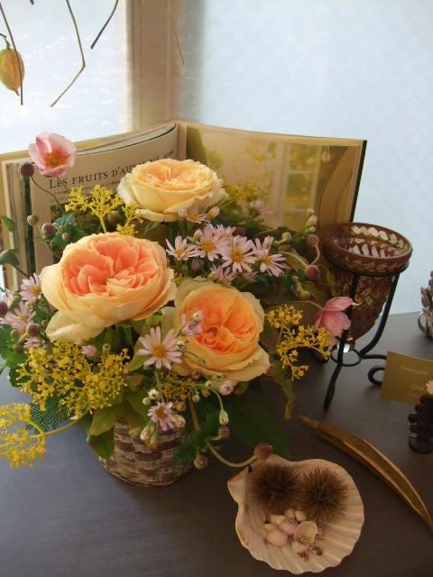 オークリーフ(秋の和花とバラのアレンジメント)_f0049672_1150444.jpg