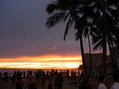 クヒオビーチの夕陽