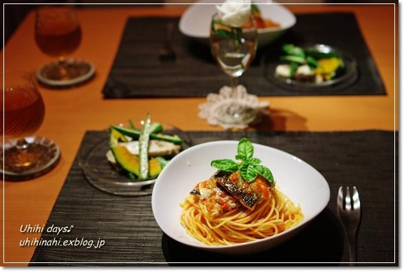 秋刀魚のトマトスパゲティ_f0179404_21225646.jpg