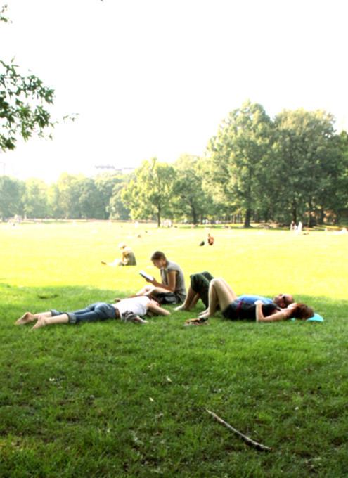 初秋のセントラルパーク、シープ・メドーの芝生でゴロ寝_b0007805_1234886.jpg