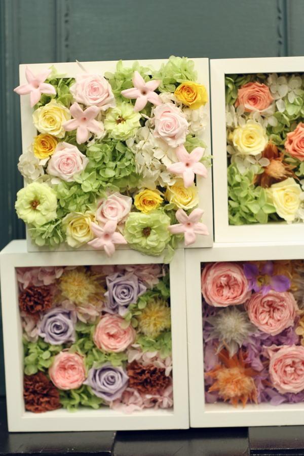 8月定期レッスン プリザーブドの花冠とフレームの花あるいはブーケ_a0042928_21543213.jpg