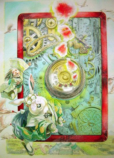 『水上祐子小作品展』のポスターとアリスのウサギ③と新潟漆器・竹塗り_d0178448_5355338.jpg