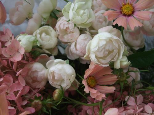 オークリーフ(秋色みなずきとコスモスの花束)_f0049672_16171013.jpg