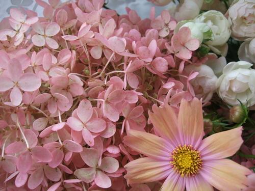 オークリーフ(秋色みなずきとコスモスの花束)_f0049672_16171892.jpg