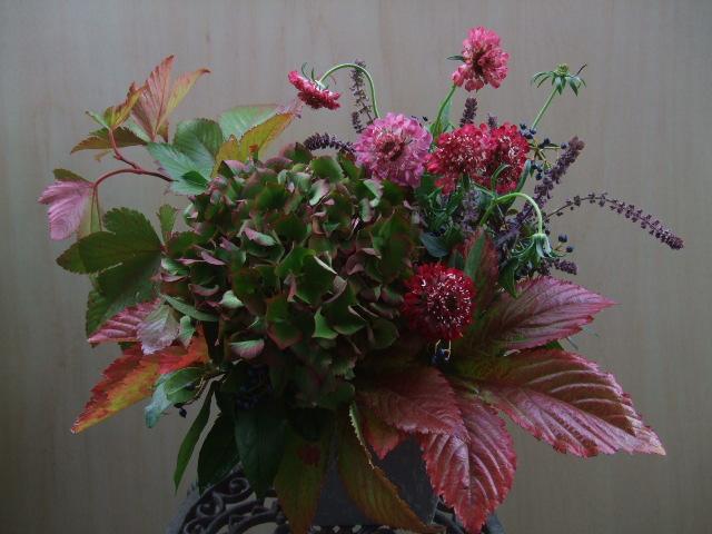オークリーフ(赤い葉と花のアレンジメント)_f0049672_1245612.jpg