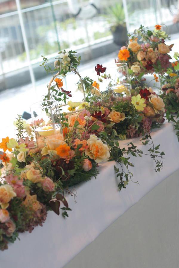 秋の暖かなオレンジと実もののナフキンフラワー ツキ・シュール・ラメール様へ_a0042928_20152022.jpg