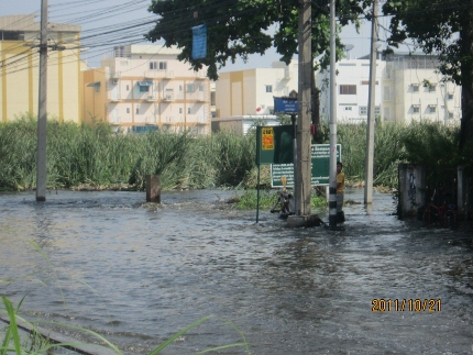 タイの洪水。其の四.タマサート大学前の2車線は通行不能カヌーです_b0100062_11232515.jpg