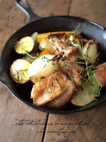 旬の野菜とお肉のを使ったシンプルオーブン料理