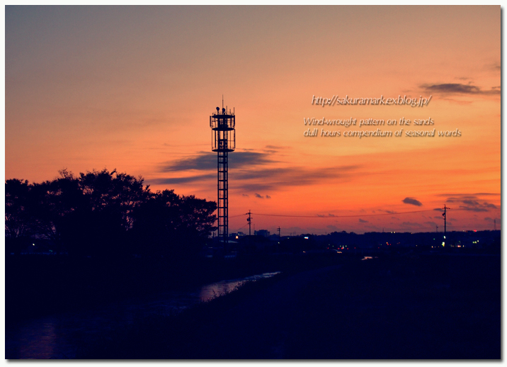 鉄塔の見える夕焼け空。_f0235723_19525222.jpg