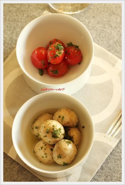 <Resipe> マッシュルームとミニトマトのマリネ(材料)マッシュルー... マッシュルームと