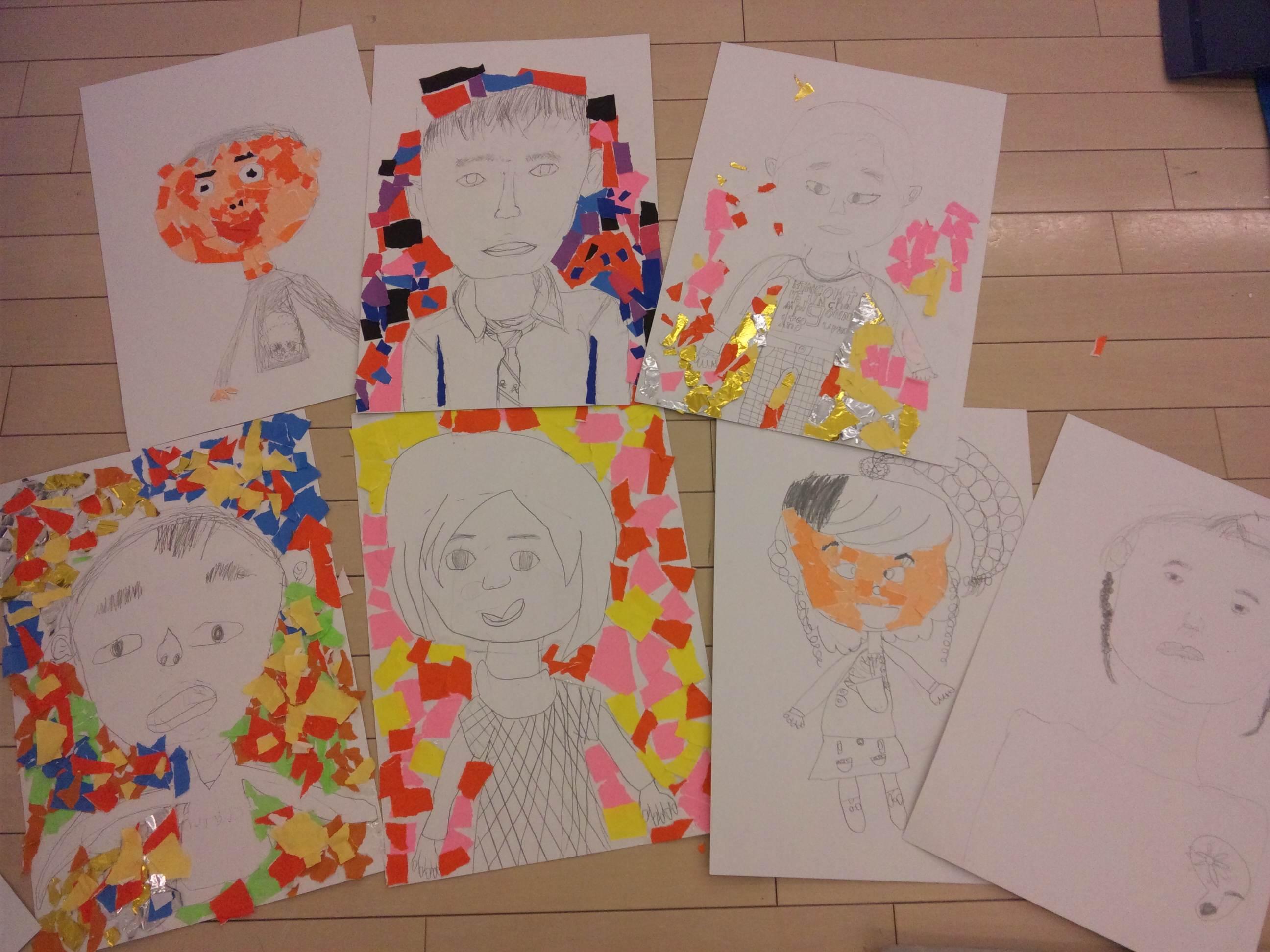 自画像  はり絵と水彩~松井山手教室~_f0215199_22294191.jpg