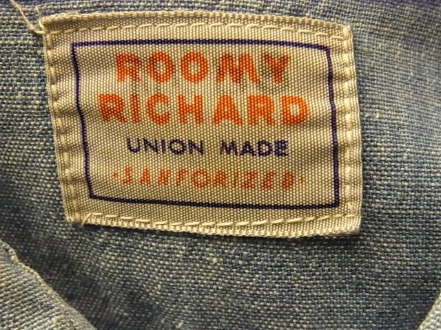 10/29(土)入荷! 40-50\'S ROOMY RICHARD シャンブレーシャツ!_c0144020_1475745.jpg