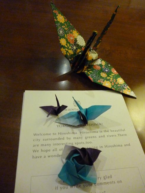 折り鶴に 祈りを込めて。。。@オリエンタルホテル広島 Oriental Hotel Hiroshima。。。.♡*† *・。・。+_a0053662_211217.jpg