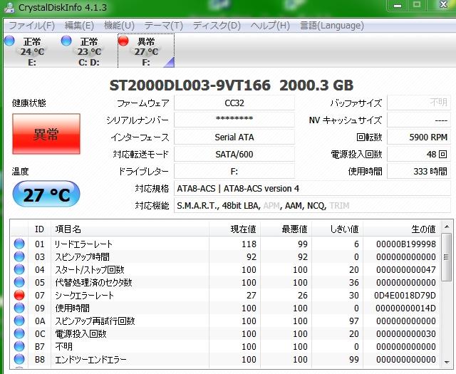 ST2000DL003 Dsikinfo 異常 シー...