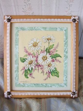マーガレットの水彩画とデコレーション額_b0089338_21312953.jpg