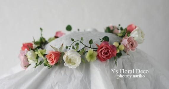 白ドレスに合わせるピンクの花冠_b0113510_12373150.jpg