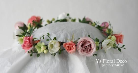 白ドレスに合わせるピンクの花冠_b0113510_12374235.jpg