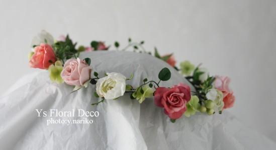 白ドレスに合わせるピンクの花冠_b0113510_12375623.jpg
